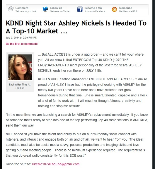 ashley nickels headed to top 10