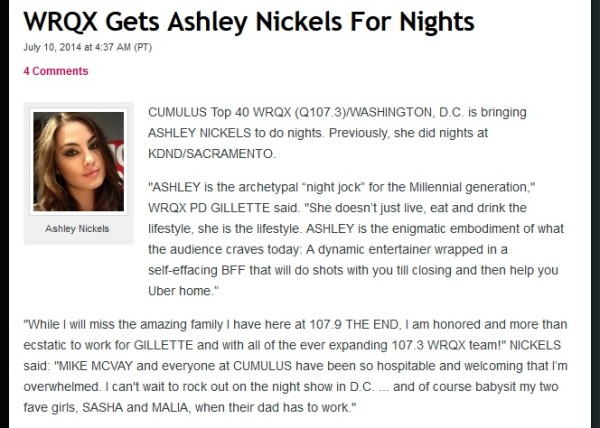 ashley nickels to washington dc